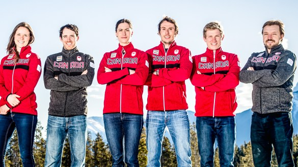 Rosanna Crawford, third from left, and Brendan Green, fourth from left, are pictured in a detail from a photo of Pyeongchang 2018 Team Canada biathletes