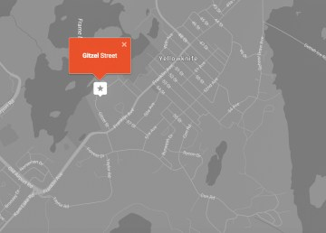Map showing Gitzel Street, Yellowknife