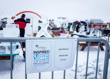 Ice carvers at the 2018 Inspired Ice contest on Yellowknife Bay