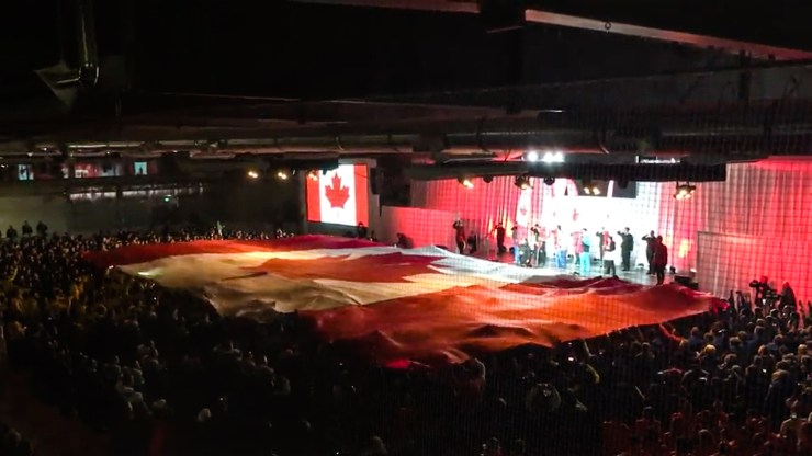 The Canadian flag at the 2018 Arctic Winter Games opening ceremony - AWG