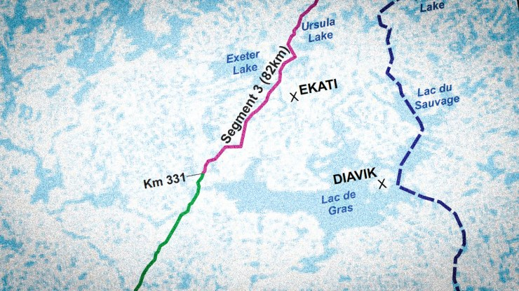 A detail from the Government of the Northwest Territories' proposed route for the Slave Geological Province Access Corridor