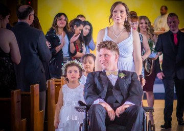 Andrew and Myriam Debogorski at their wedding in Yellowknife's St Patrick's Parish Church on April 28, 2018
