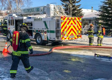 Firefighters respond to a garage fire on Yellowknife's Byrne Road on April 10, 2018