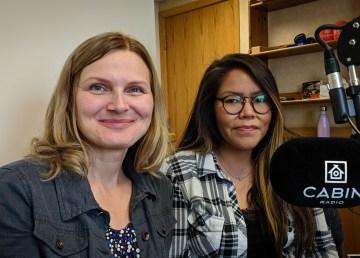 Renata Rosol and Liz Liske from the Health Effects Monitoring Program in Cabin Radio's Studio 1