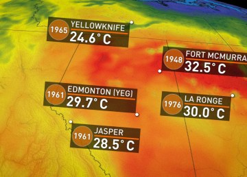 A still from a Weather Network graphic displaying record temperatures on May 23, 2018