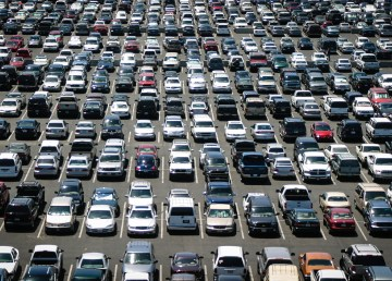 A stock image of many parked cars