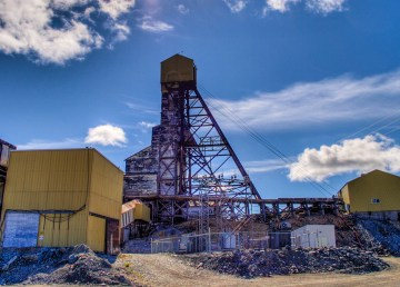 An archive image from 2008 shows since-dismantled buildings at the former Giant Mine site