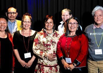 From left - Be'sha Blondin, John B Zoe, Kimberly Fairman, Sharon Firth, Susan Chatwood, Rassi Nashalik, Kue Young