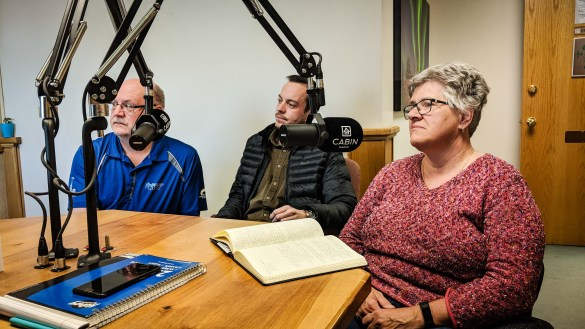 MLAs Shane Thompson, Kieron Testart, and Julie Green discuss cannabis at Cabin Radio in May 2018