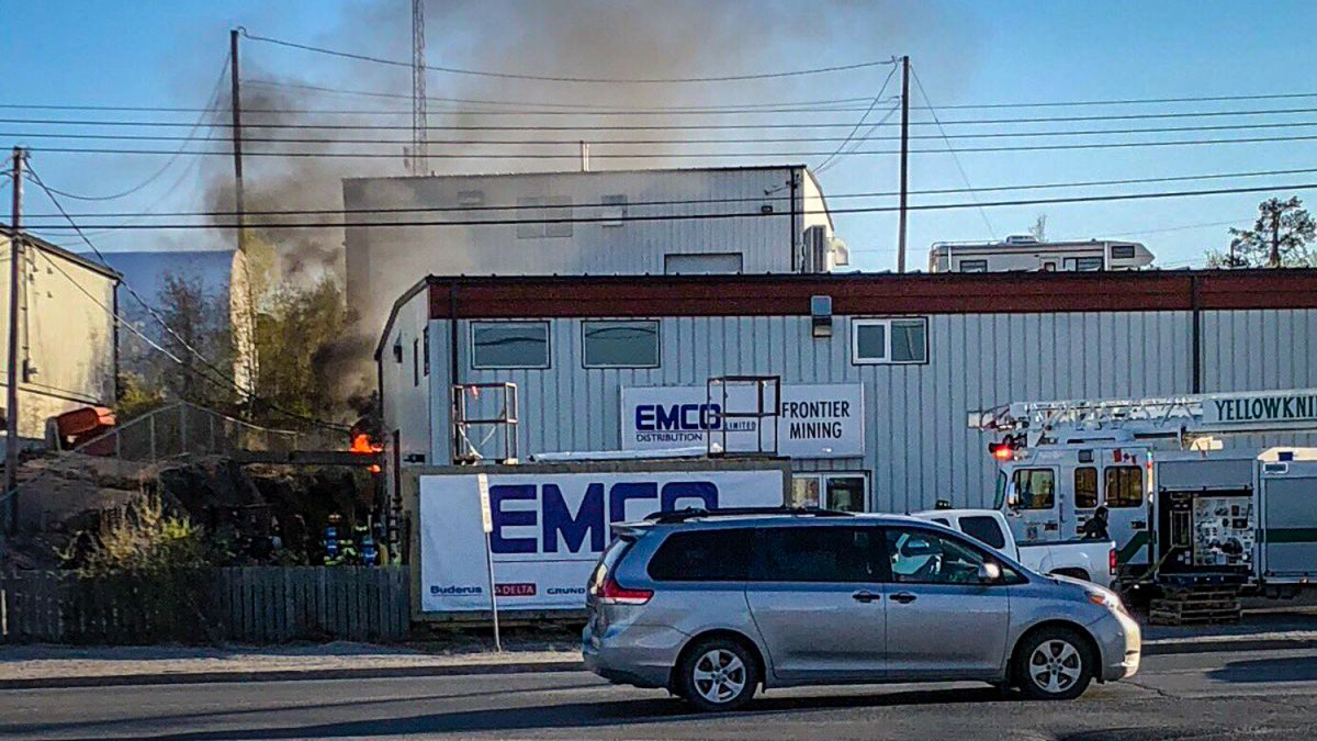 Yellowknife firefighters tackle EMCO blaze