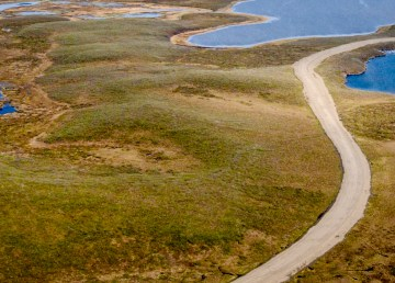 An aerial view of the Inuvik-Tuk highway posted to Twitter by the Department of Infrastructure