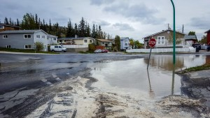 An area of flooded road following a water main break in Yellowknife on June 5, 2018