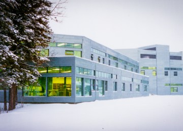 An external view of Aurora College's Fort Smith campus in winter, photographed by the Taylor Architecture Group