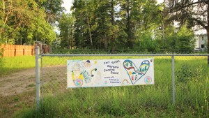 A file photo of the proposed Fort Smith Daycare site in June 2018. Sarah Pruys/Cabin Radio.