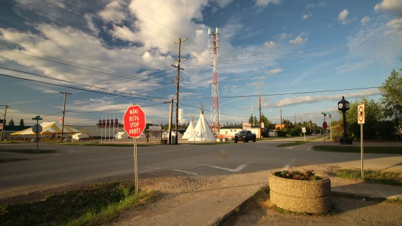 A file photo of the 4-way stop in Fort Smith, NT. Sarah Pruys/Cabin Radio