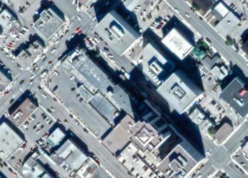 A satellite view of Yellowknife's 50 Avenue and 49 Street