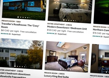 A screengrab shows Yellowknife accommodation options listed on Airbnb in July 2018