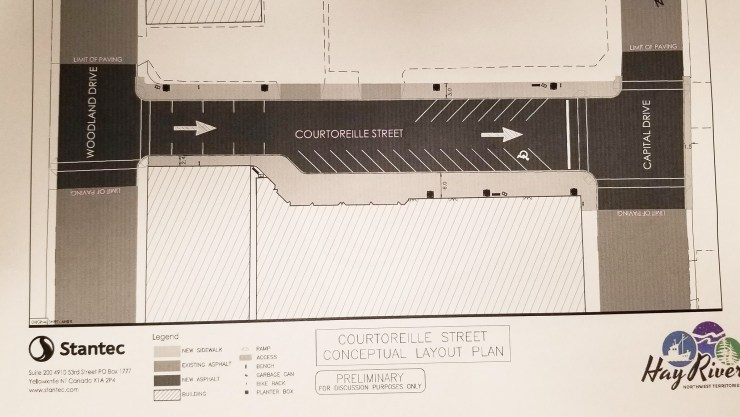 A conceptual layout plan for a one-way Courtorielle Street. Brad Mapes/Facebook