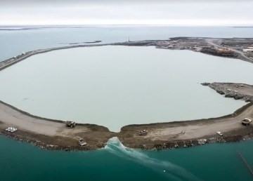 A view of the Diavik diamond mine's A21 project during construction