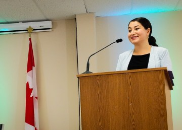 Maryam Monsef, Minister for the Status of Women, speaks at Yellowknife's Tree of Peace in August 2018