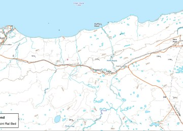 A map showing the path of the railbed at the former Pine Point Mine in the Northwest Territories. Crown-Indigenous Relations and Northern Affairs Canada.