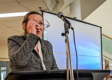 Education Minister Caroline Cochrane speaks inside Yellowknife's Mildred Hall School in April 2018