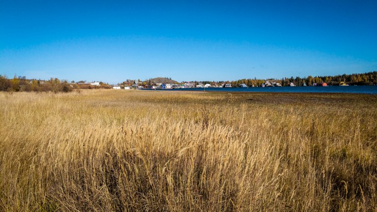 The view from Yellowknife's Rotary Park boardwalk toward Old Town