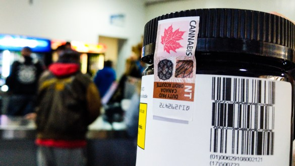 A cannabis package is seen inside Yellowknife's liquor store on legalization day, October 17, 2018