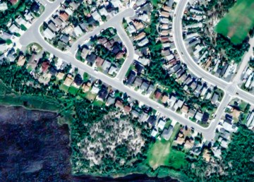 An aerial view of Yellowknife's Rivett Crescent, centre