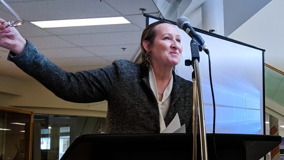 Caroline Cochrane, the education minister, speaks at Mildred Hall School in April 2018