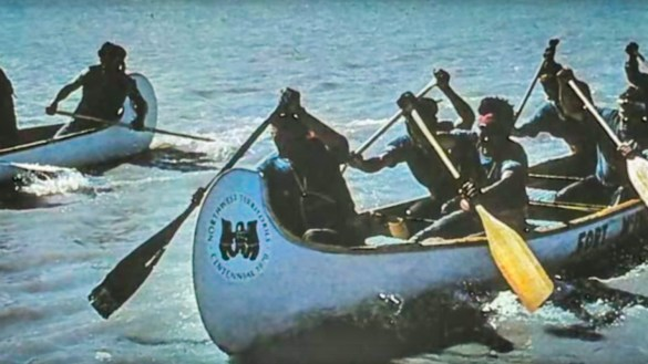 Fort McPherson's canoeists, right, are pictured during the 1970 centennial canoe race