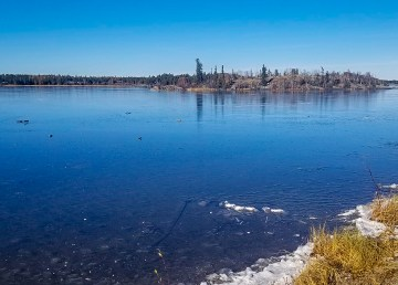 The City of Yellowknife posted this photo to Facebook as area lakes begin to freeze for winter