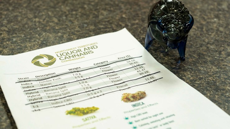 A file photo of a cannabis price sheet on October 17 next to a bison bong. Sarah Pruys/Cabin Radio