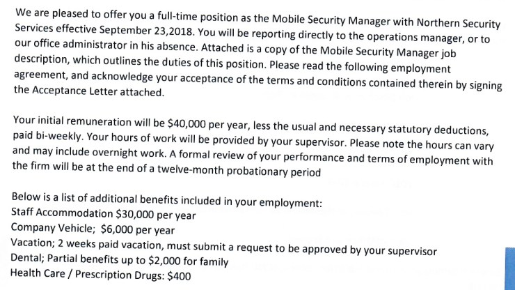 Part of Otsweleng's offer letter, dated July 15, 2018.