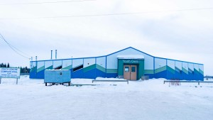A file photo of the youth centre and outdoor pool in Fort Resolution in December 2018. Sarah Pruys/Cabin Radio