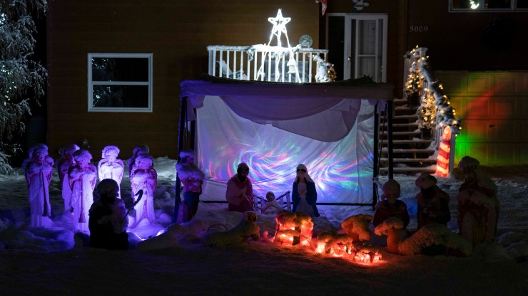 Yellowknife Christmas lights: Nativity under the northern lights on Finlayson Drive