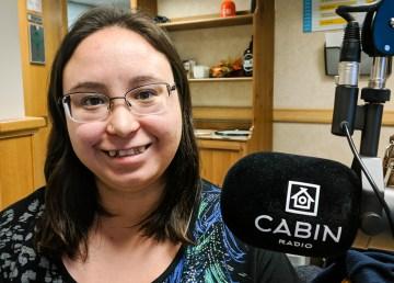 Sandra Noel is pictured in Cabin Radio's Studio 1 in December 2018