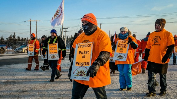 Union members at a 'practice picket' outside Yellowknife's Jackfish Lake power plant in December 2018