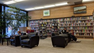 A file photo of the Hay River library in February 2019. Sarah Pruys/Cabin Radio