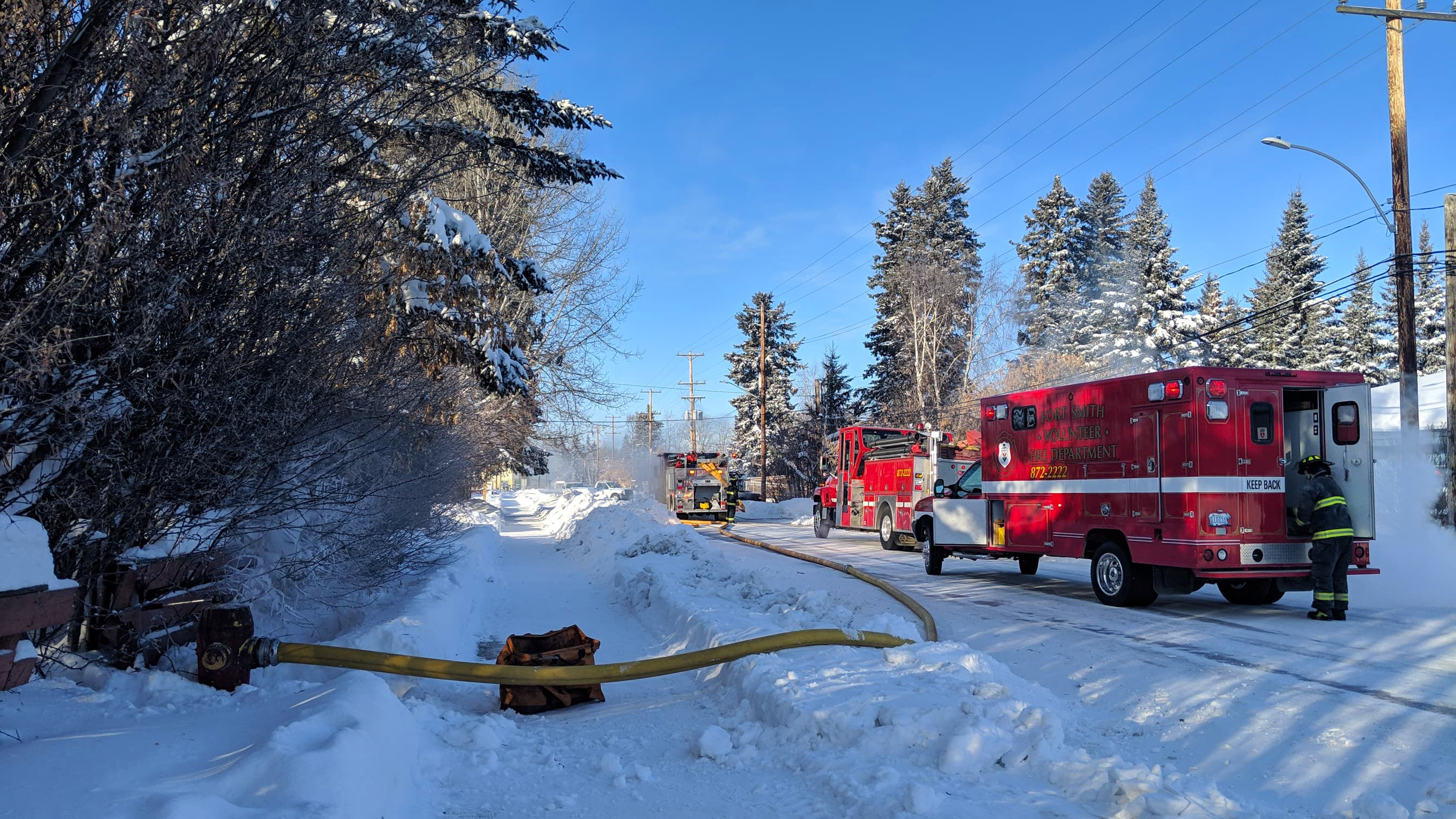 Fort Smith's fire department responds to a call in February 2019. Sarah Pruys/Cabin Radio