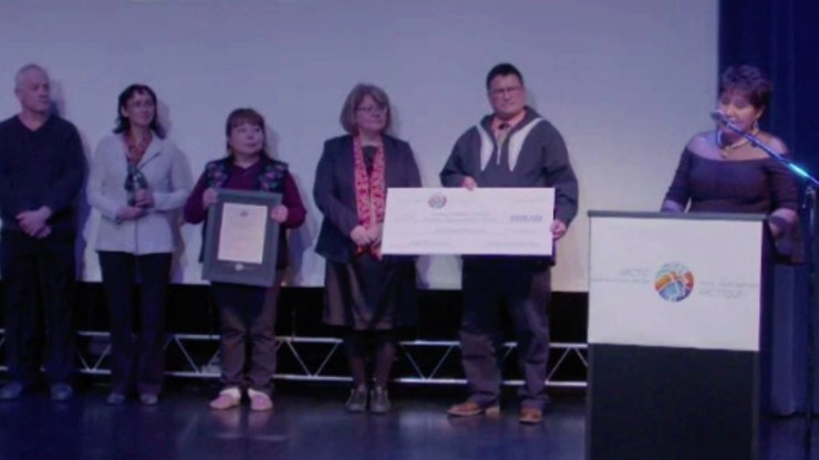 Verna Pope accepts a $500,000 Arctic Inspiration Prize on behalf of her team. Arctic Inspiration Prize livestream/Facebook