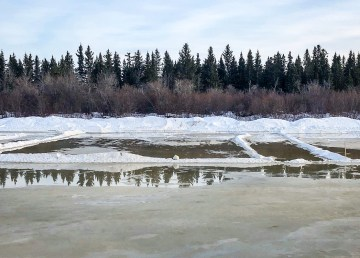 A photo posted to Facebook by Polar Pond Hockey organizers shows a lake where an ice rink should be on March 19, 2019