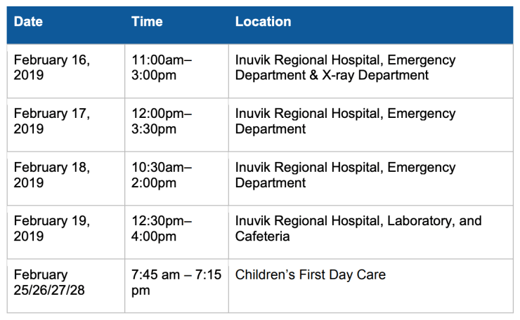 Anyone present at the above locations at the times shown may have been exposed to measles, the NWT government said in a health advisory