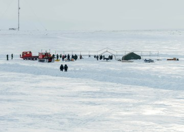 A panoramic view of a dive site being set up on the ice during Operation Nanook-Nunalivut in Tuktoyaktuk on March 21, 2019