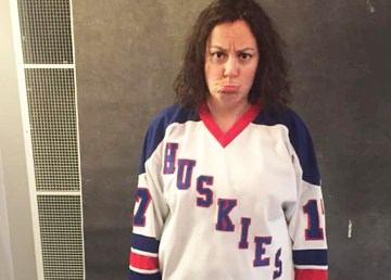 Rebecca Alty wears the Hay River Huskies jersey after Yellowknife's loss to Hay River. Rebecca Alty/Facebook