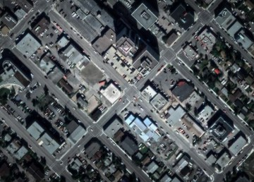 An aerial view of Yellowknife's 50 Street