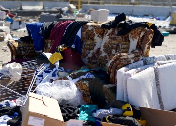 Documents appearing to originate from the Yellowknife Minor Fastball Association were found on this couch in the salvage area of the Yellowknife dump