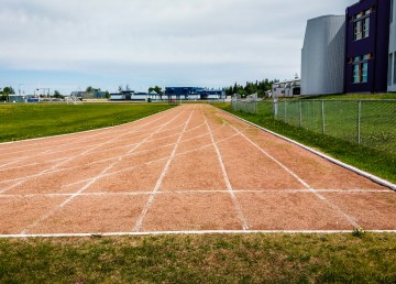 The running track outside Hay River's Diamond Jenness school