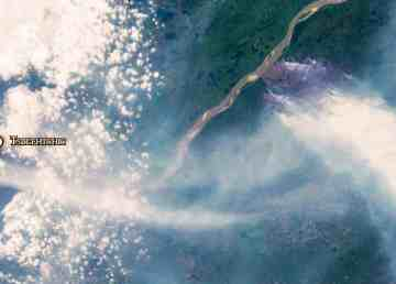 A LandSat-8 satellite image shows the burn area of a fire east of Tsiigehtchic on the afternoon of July 29, 2019