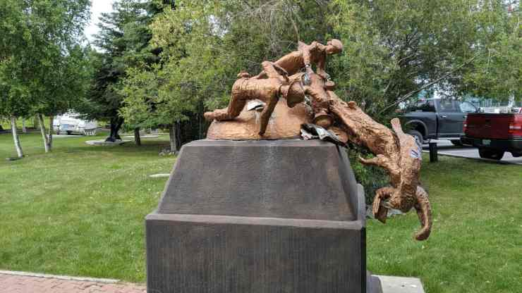 Yellowknife's damaged veterans' monument is shown in July 2019